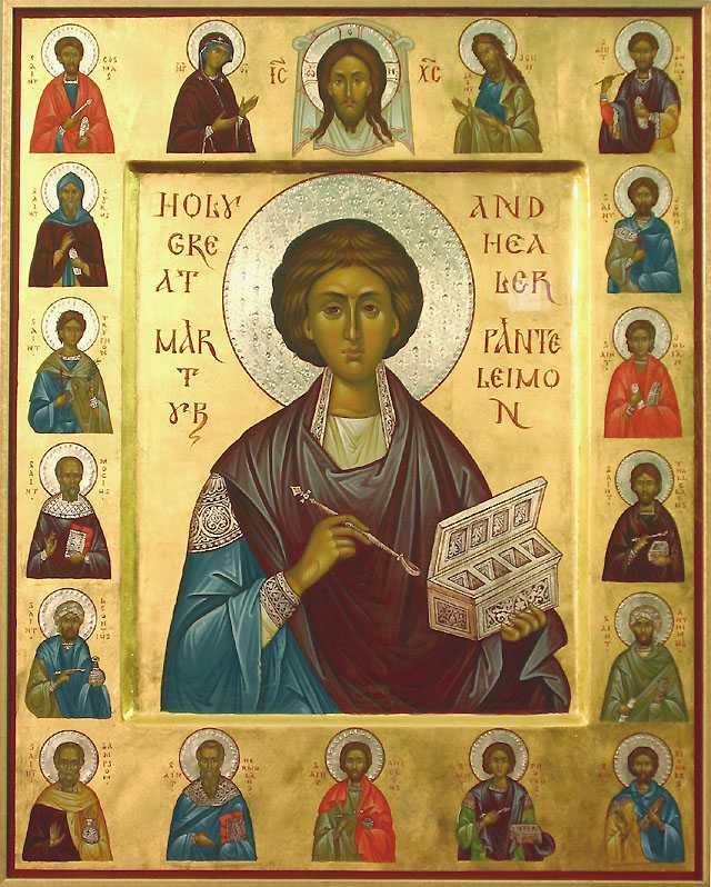 Saint Panteleiemon dans immagini sacre synaxisholyunmercenaries